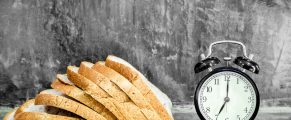 Sliced bread on stone background