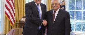 President Donald Trump and President of the Palestinian National Authority Mahmoud Abbas shakes hands as they meet, Wednesday, May 3, 2017, in the Oval Office of the White House in Washington, D.C. (Official White House Photo by Shealah Craighead)
