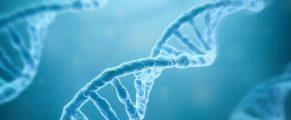 DNA Strands on blue background , 3d render
