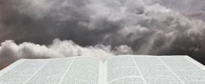 Horizontal image of Bible and creation sky