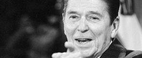 President Ronald Reagan points to a reporter for the next question during his news conference in the East Room at the White House in Washington, Dec. 17, 1981.  Reagan said it would be naÔve to believe that the Polish government would have turned to martial law to suppress dissent ìwithout the full knowledge and support of the Soviet Unionî.  (AP Photo)