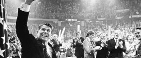 KANSAS CITY, MO - AUGUST 19:  (NO U.S. TABLOID SALES)  Ronald Reagan waves to the crowd on the final night of the Republican National Convention August 19, 1976 in Kansas City, Missouri. Behind Reagan stands (L-R) Gerald Ford's sons Mike Ford, Jack Ford, Steve Ford and Vice President Nelson Rockefeller, President Gerald Ford, Betty Ford, and Vice Presidential candidate Bob Dole.  (Photo by David Hume Kennerly/Getty Images)